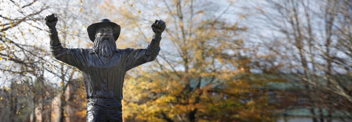 Yosef statue in fall